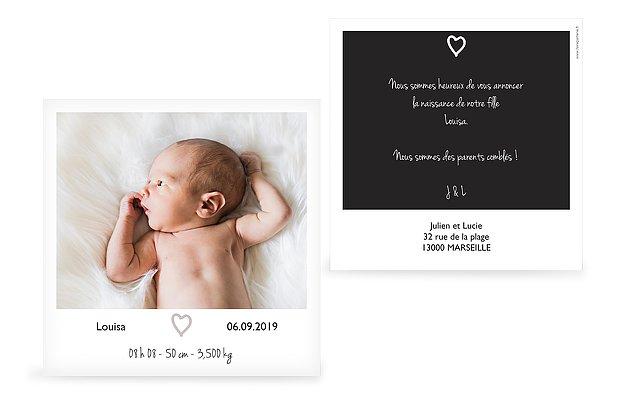 Faire-part naissance Polaroid