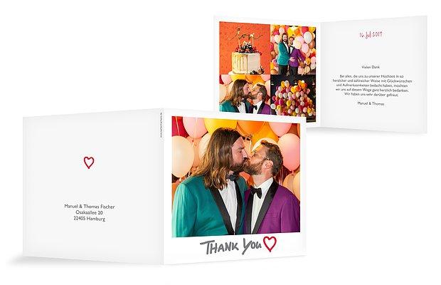 Dankeskarte Hochzeit Polaroid; Polaroid