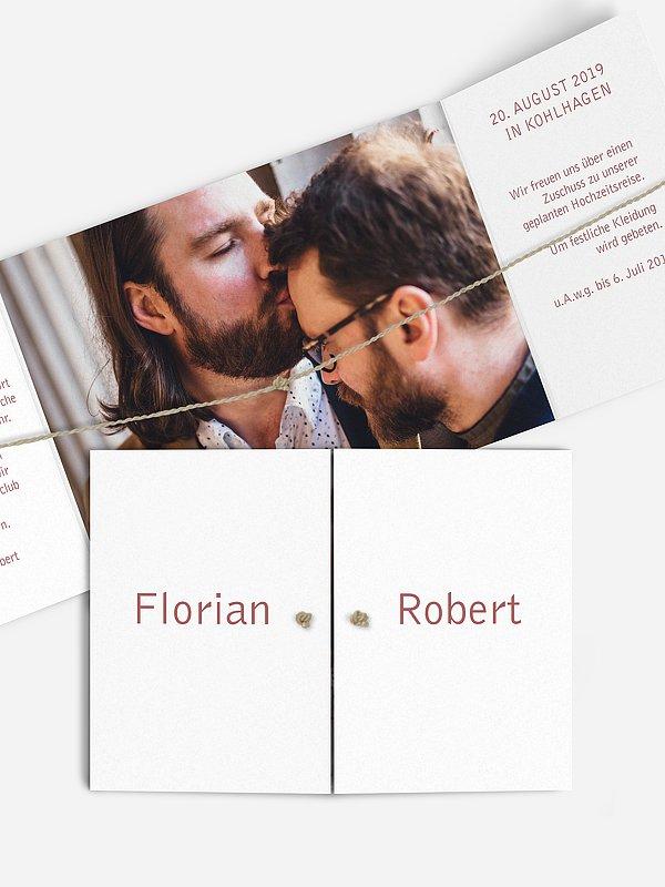 Hochzeitseinladung Farbreich mit Kordel
