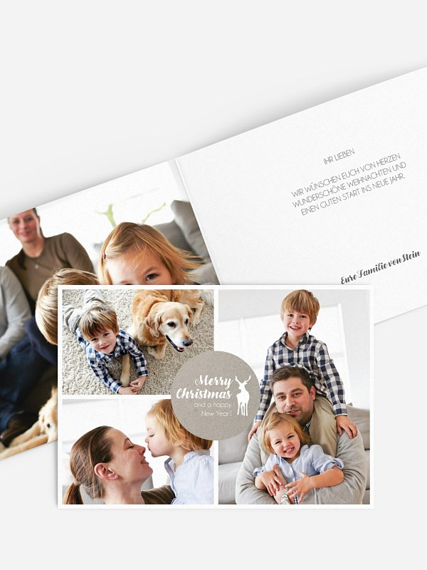 Weihnachtskarte Rehfamilie