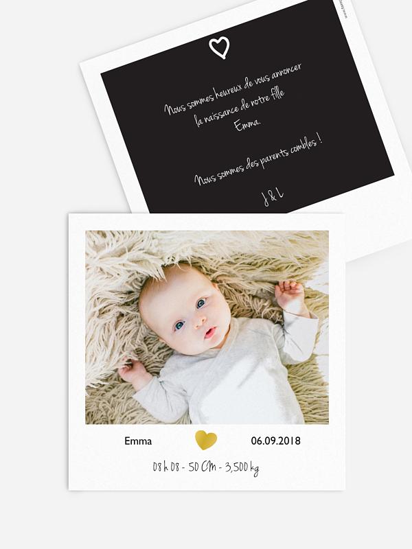 Faire-part naissance Polaroid - dorure