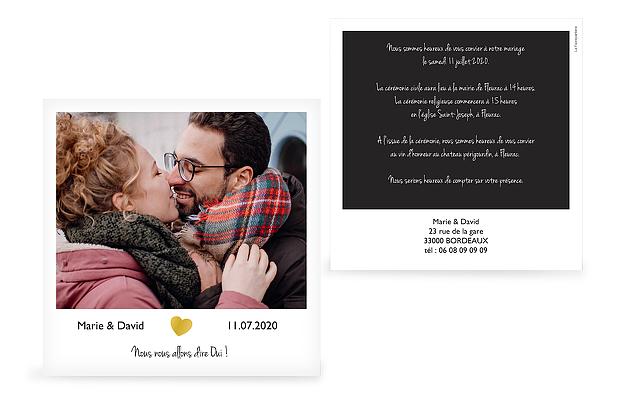Faire-part de mariage Polaroid - dorure
