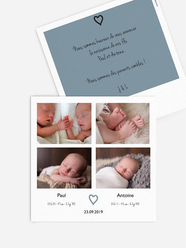 Faire-part naissance jumeaux Photo rétro Multi-photos