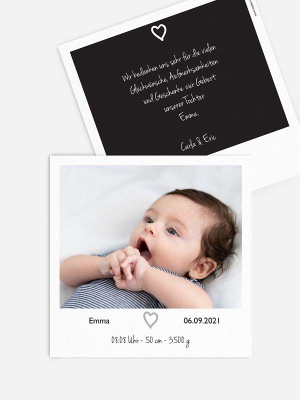Geburtskarte Polaroidfoto