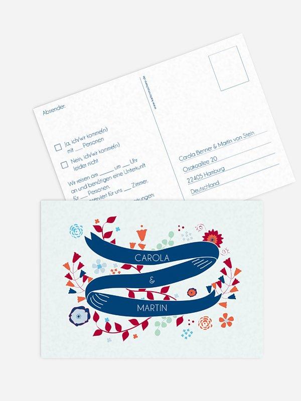 Antwortkarte Hochzeit Floral Banner
