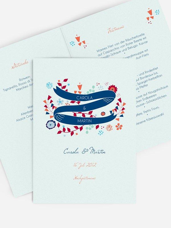 Menükarte Hochzeit Floral Banner