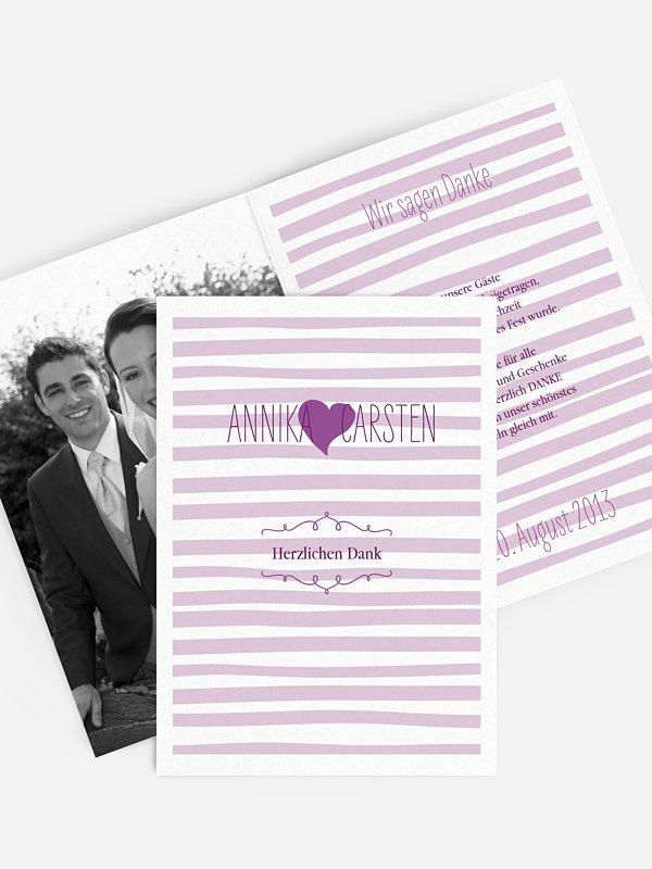 Dankeskarte Hochzeit Soft Stripes
