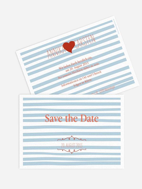 Save-the-Date Karte Soft Stripes