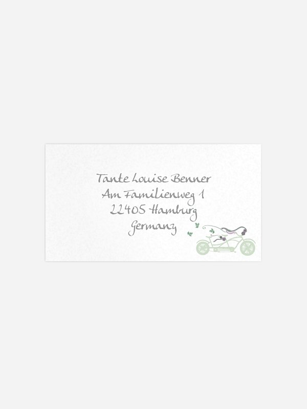 Empfängeraufkleber Hochzeit Tandem