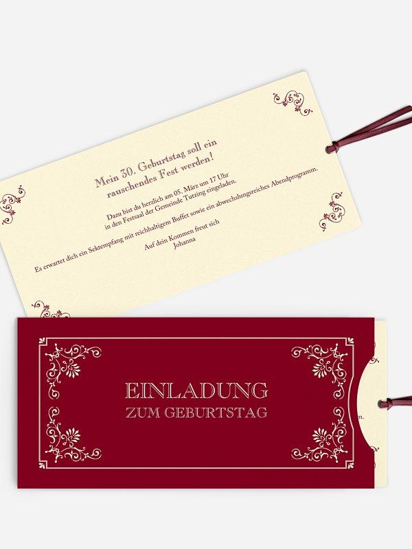 Einladung 30. Geburtstag Eleganz