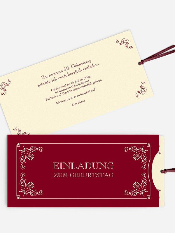 Einladung 50. Geburtstag Eleganz
