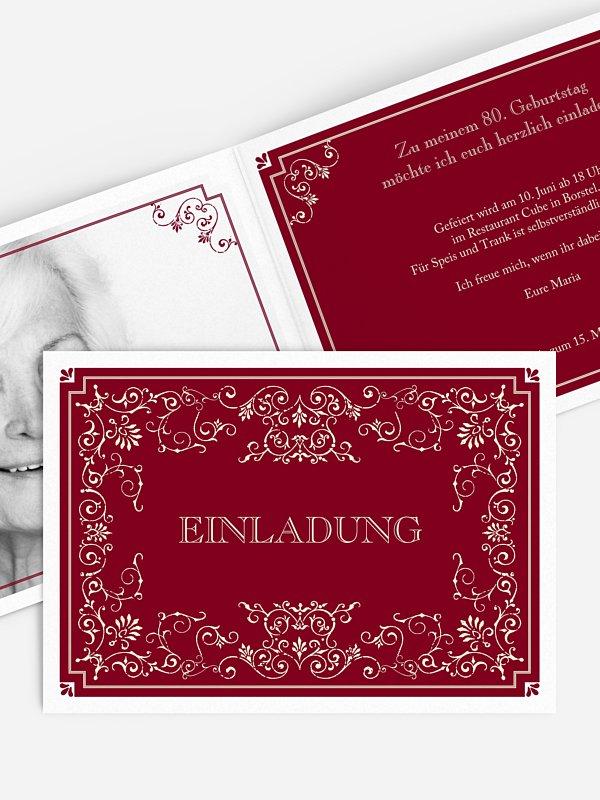 Einladung 80. Geburtstag Eleganz