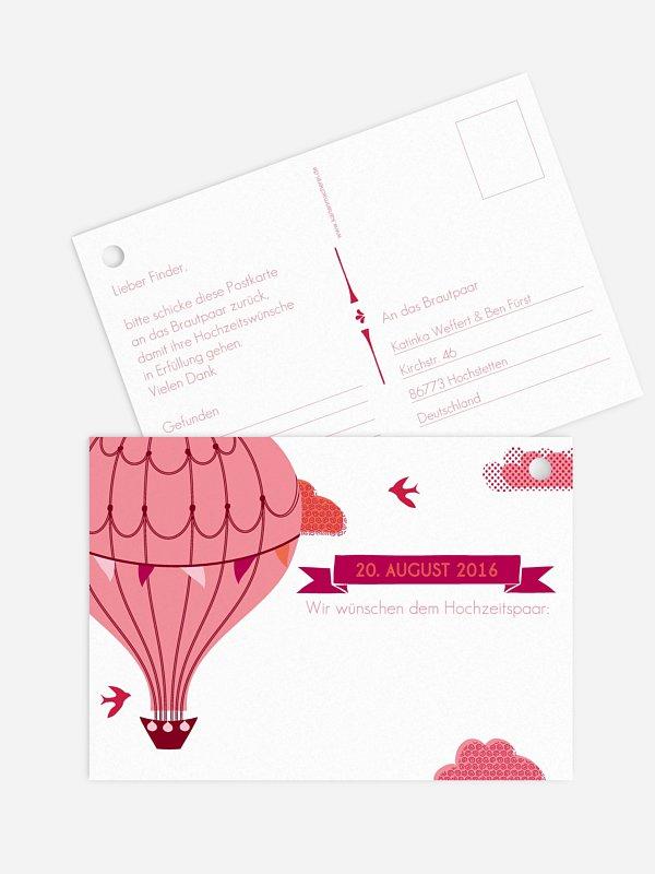 Ballonkarte Hochzeit Heißluftballon