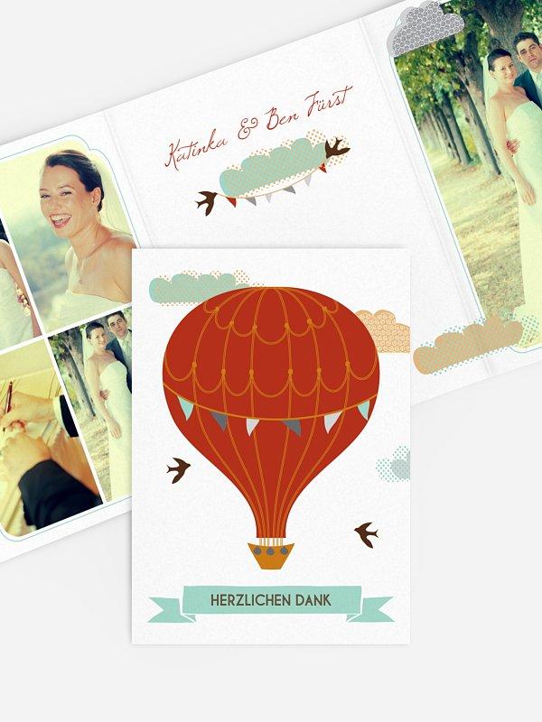 Dankeskarte Hochzeit Heißluftballon