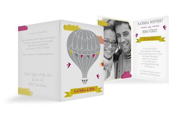 Hochzeitseinladung Heißluftballon