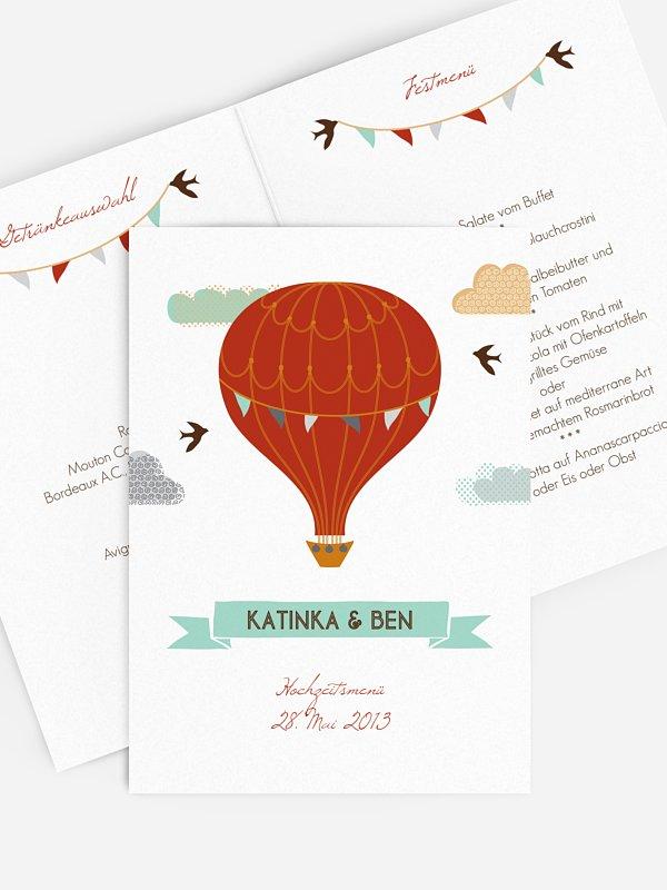 Menükarte Hochzeit Heißluftballon