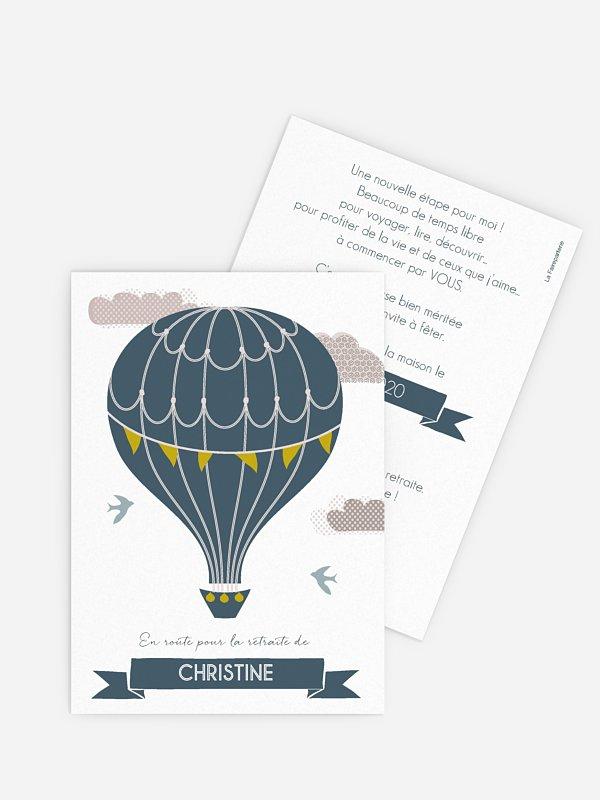 Carte invitation départ retraite Montgolfière