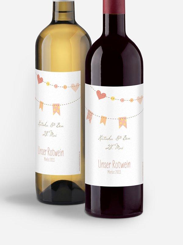 Flaschenetikett Hochzeit Festive