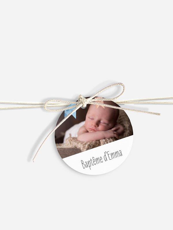 Étiquette avec ruban baptême Festif