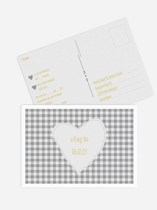 Antwortkarte Hochzeit Vichy Karo