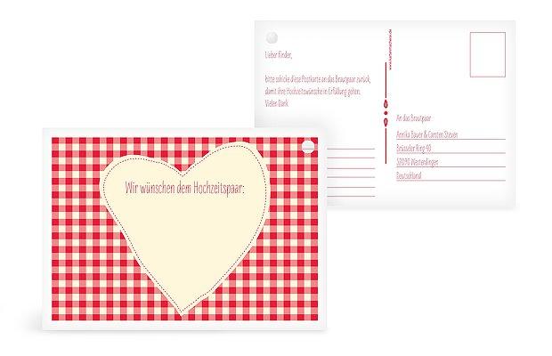 Ballonkarte Hochzeit Vichy Karo