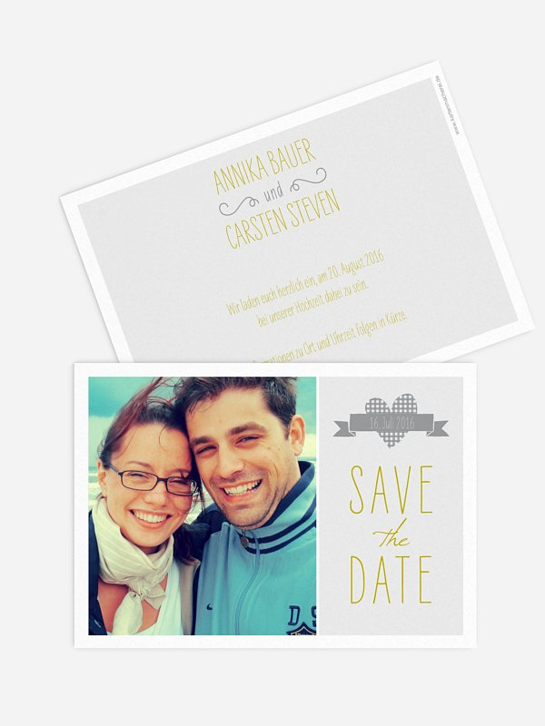 Save-the-Date Karte Vichy Karo