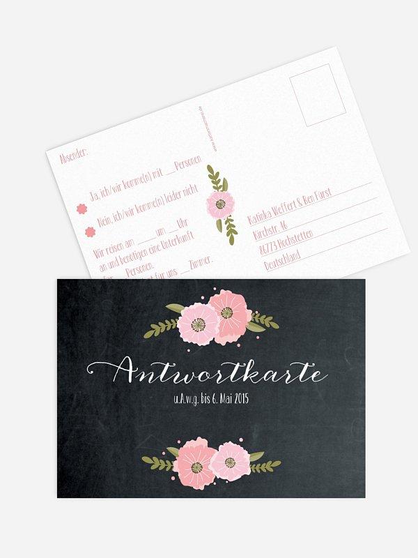 Antwortkarte Hochzeit Poppies