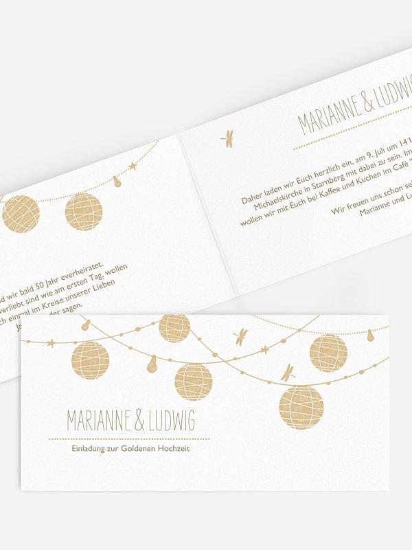Einladung zur Goldenen Hochzeit Paperlanterns