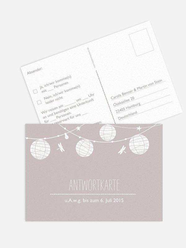 Antwortkarte Hochzeit Paperlanterns