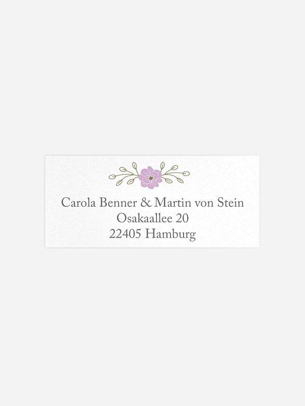 Absenderaufkleber Hochzeit Blumenkranz