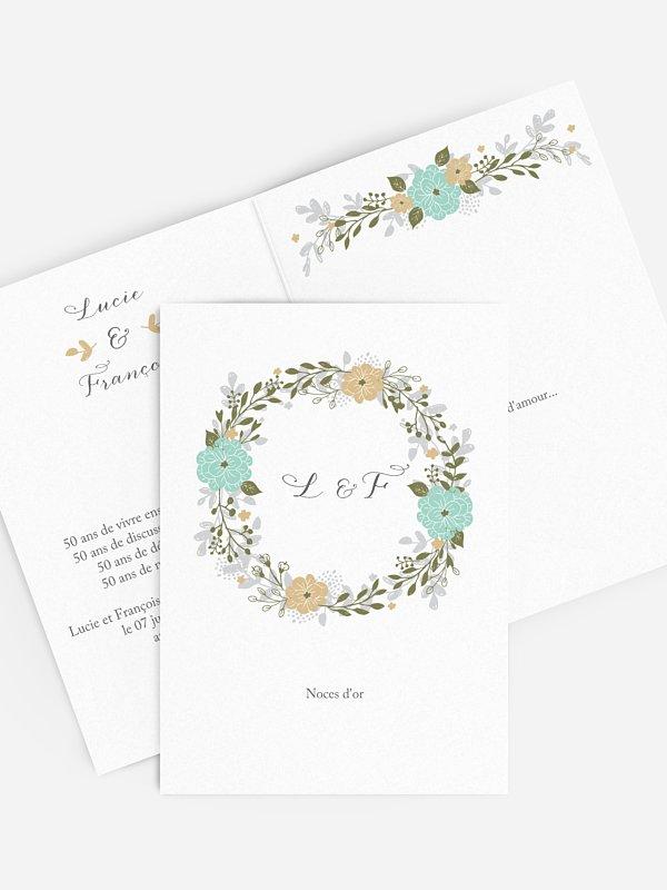 Invitation Anniversaire Mariage 50 Ans Couronne De Fleurs