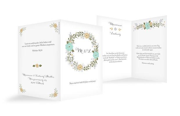 Einladung Goldene Hochzeit Blumenkranz