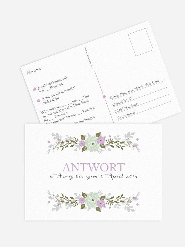 Antwortkarte Hochzeit Blumenkranz