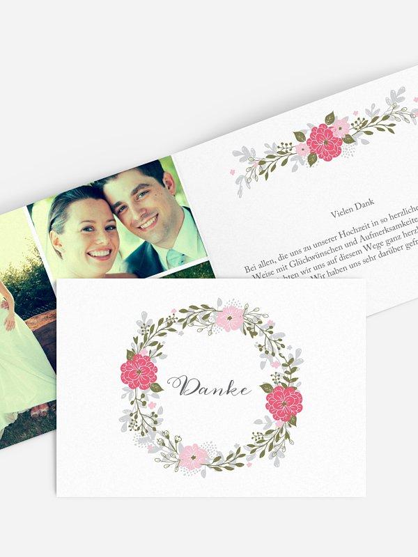Dankeskarte Hochzeit Blumenkranz