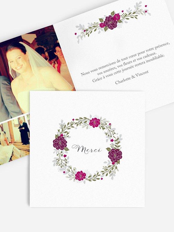 Carte de remerciements Couronne de fleurs