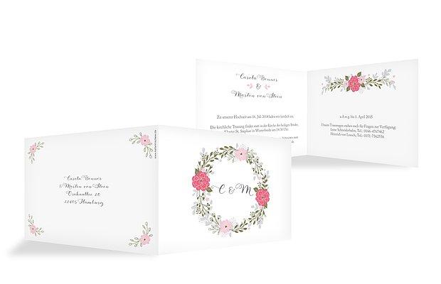 """Einladung zur Hochzeit """"Blumenkranz"""""""
