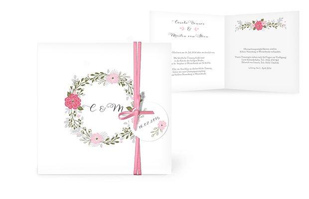 Hochzeitseinladung Blumenkranz
