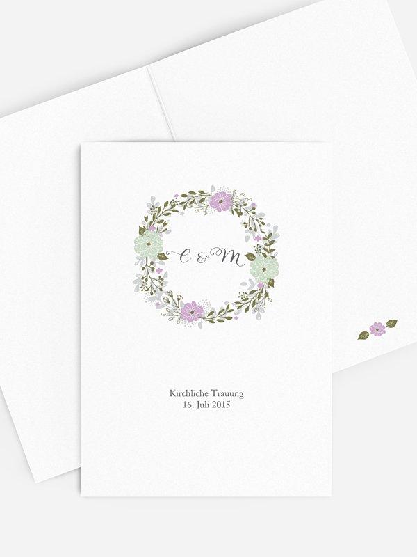 Kirchenheft Hochzeit Blumenkranz
