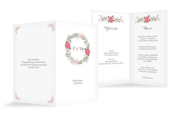 Menükarte Hochzeit Blumenkranz