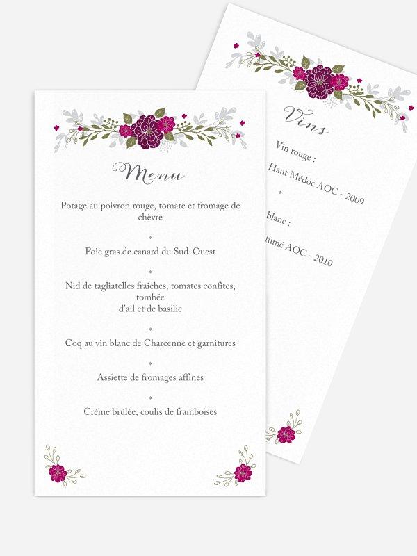 Menu mariage Couronne de fleurs