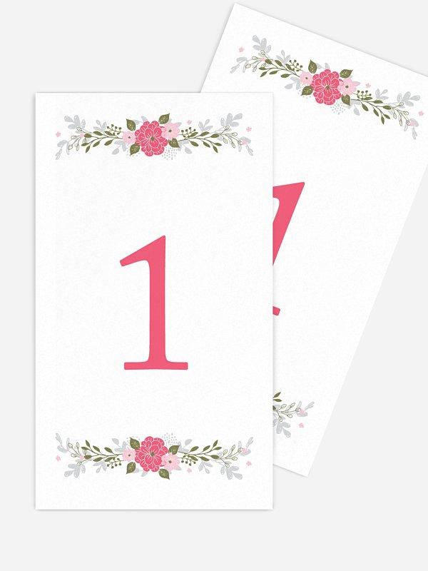 Numéro de table mariage Couronne de fleurs