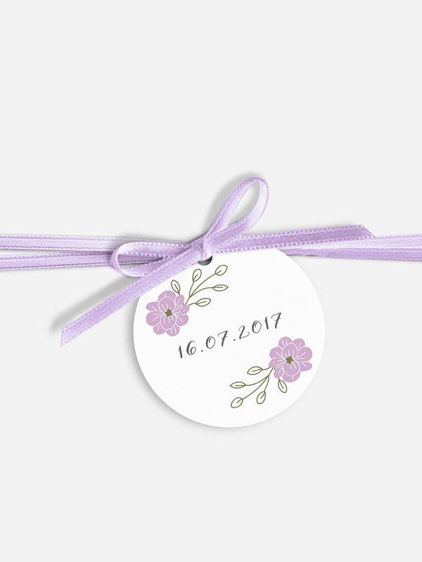 Étiquette avec ruban Couronne de fleurs