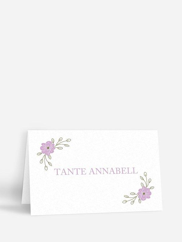 Tischkarte Hochzeit Blumenkranz