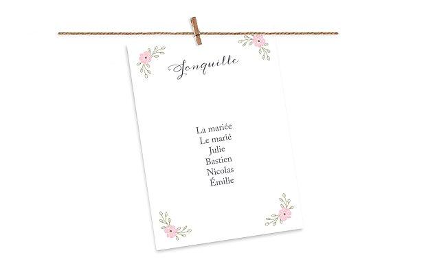 Cartons plan de table mariage Couronne de fleurs