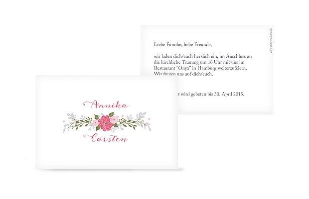 Mini Einladungskarte Blumenkranz