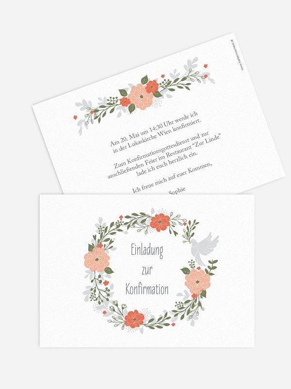 Konfirmationseinladung Blumenkranz