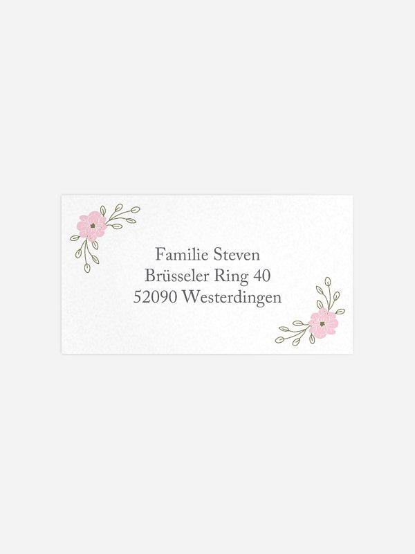 Empfängeraufkleber Hochzeit Blumenkranz