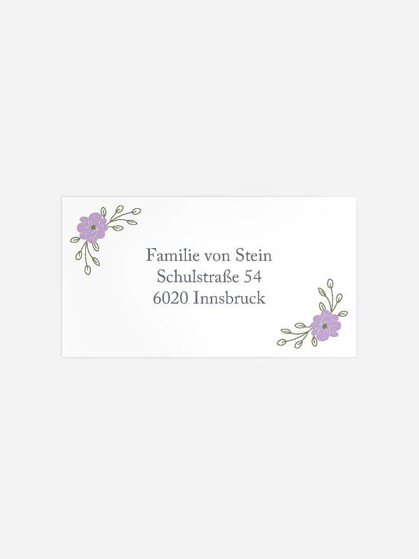 Empfängeraufkleber Konfirmation und Kommunion Blumenkranz