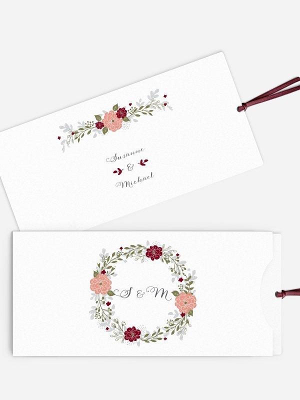 Einladung zur Silberhochzeit Blumenkranz
