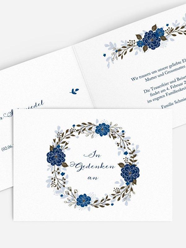 Trauerkarte Blumenkranz